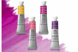 Image of 4 Winsor & Newton Quinacridone Watercolor Tubes on a watercolor wash