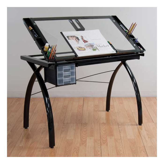 Studio Designs Folding Modern Glass Top Adjustable Drafting Table Craft Table Dr