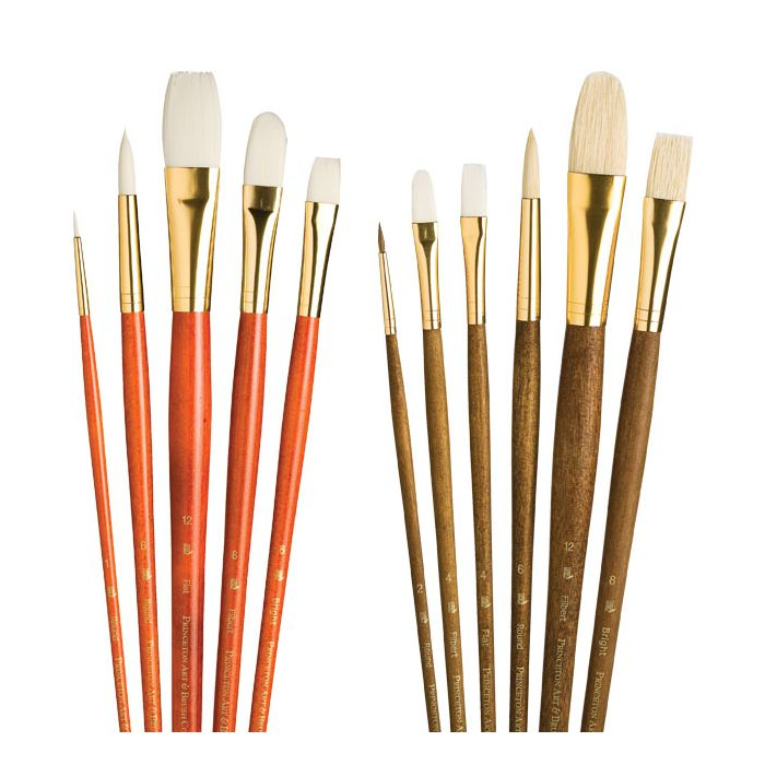 Princeton Art /& Brush Co Refine Natural Bristle Oil /& Acrylic Brush Short Filbert Short Filbert 8