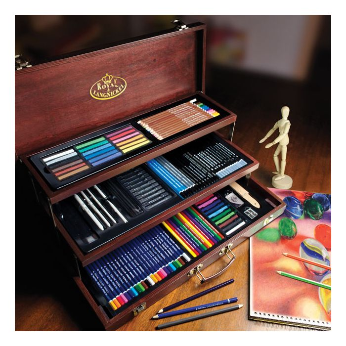 Royal /& Langnickel Sketch Sketching Art Artists Wooden Chest Case Set 40 Pieces