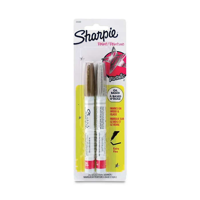 Sharpie Oil Based Paint Markers Set Of 2 Metallic Colors Extra Fine Point