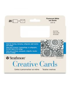 Strathmore Blank Cards and Envelopes, Fluorescent White with Deckle, 10 pack