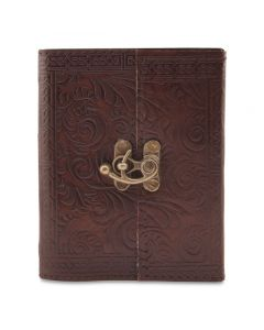 """Handmade Leather Journal, Embossed with C-Lock, Brown, 4"""" x 5"""" (Embossed Design May Vary)"""