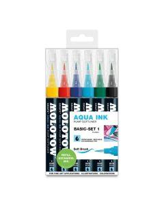 Aqua Ink Pump Softliner Marker Basic Set 1, 6 Colors