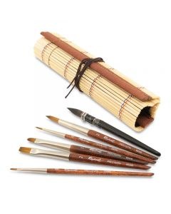 Raphael Mini Travel Brush Set in Bamboo Wrap