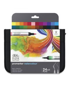 ProMarker Watercolor Markers - Basic Collection, Set of 24 with Case