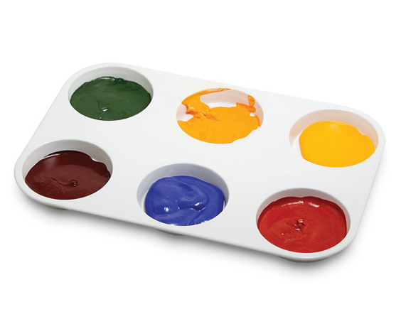 Round Enameled Metal Paint Palette