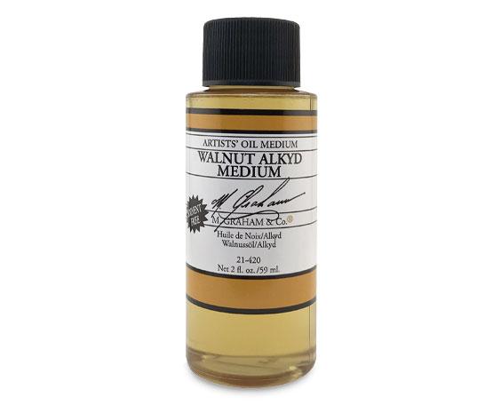 M. Graham Walnut Alkyd Oil Medium, 2 oz. bottle