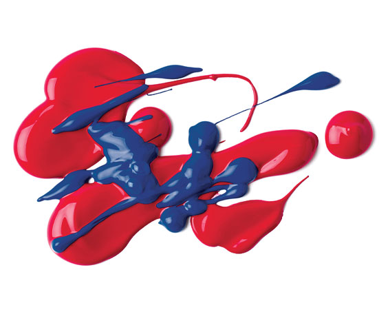 Squirted out samples of red and blue Liquitex Soft Body Acrylic Paint
