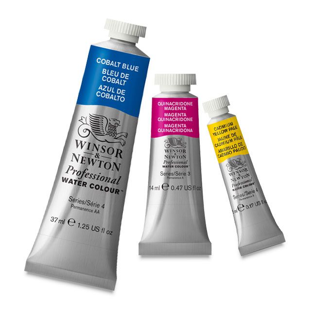 A glamour image of three tubes of Winsor & Newton Professional Watercolor Paint
