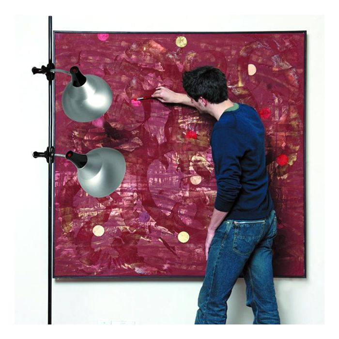 Image of artist painting using the Daylight Clip-on Studio Lamp with Stand